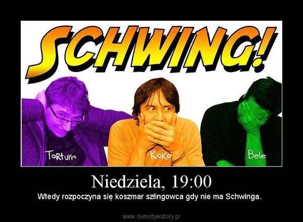 Niedziela, 19:00 – Wtedy rozpoczyna się koszmar szłingowca gdy nie ma Schwinga.