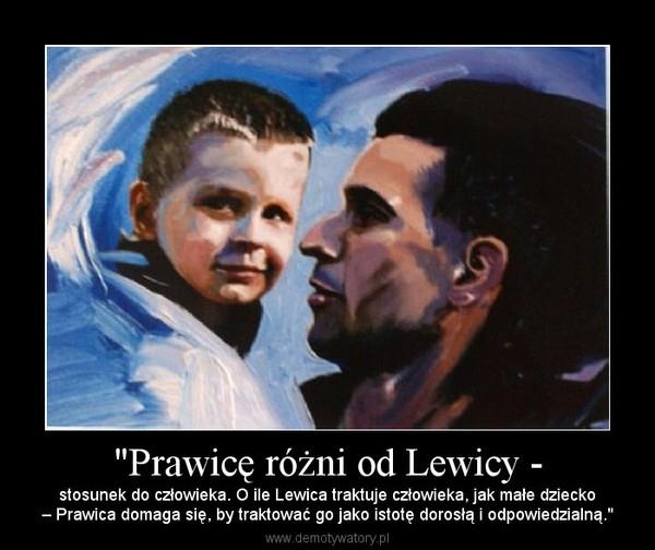 """""""Prawicę różni od Lewicy - – stosunek do człowieka. O ile Lewica traktuje człowieka, jak małe dziecko– Prawica domaga się, by traktować go jako istotę dorosłą i odpowiedzialną."""""""
