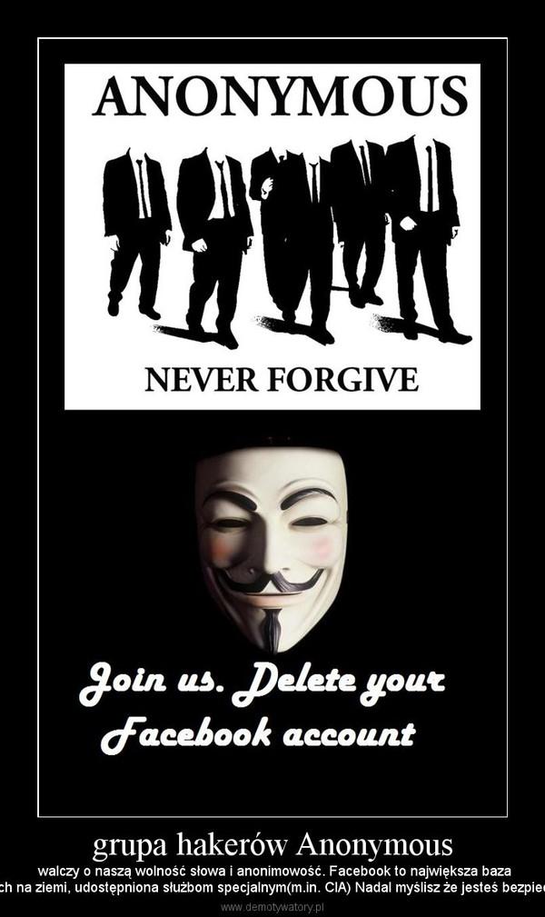 grupa hakerów Anonymous – walczy o naszą wolność słowa i anonimowość. Facebook to największa bazadanych na ziemi, udostępniona służbom specjalnym(m.in. CIA) Nadal myślisz że jesteś bezpieczny?