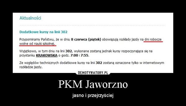 PKM Jaworzno – jasno i przejrzyściej