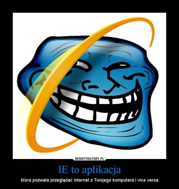 IE to aplikacja – która pozwala przeglądać Internet z Twojego komputera i vice versa
