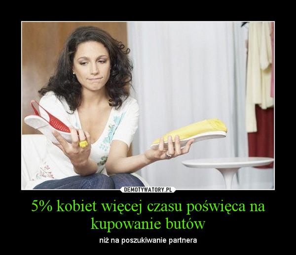 5% kobiet więcej czasu poświęca na kupowanie butów – niż na poszukiwanie partnera