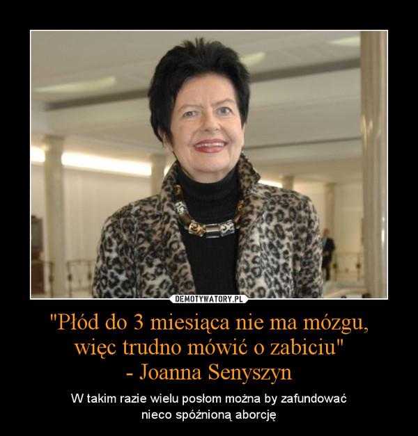 """""""Płód do 3 miesiąca nie ma mózgu,więc trudno mówić o zabiciu""""- Joanna Senyszyn – W takim razie wielu posłom można by zafundowaćnieco spóźnioną aborcję"""