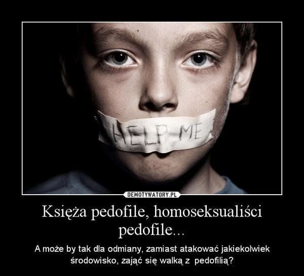 Księża pedofile, homoseksualiści pedofile... – A może by tak dla odmiany, zamiast atakować jakiekolwiek środowisko, zająć się walką z  pedofilią?