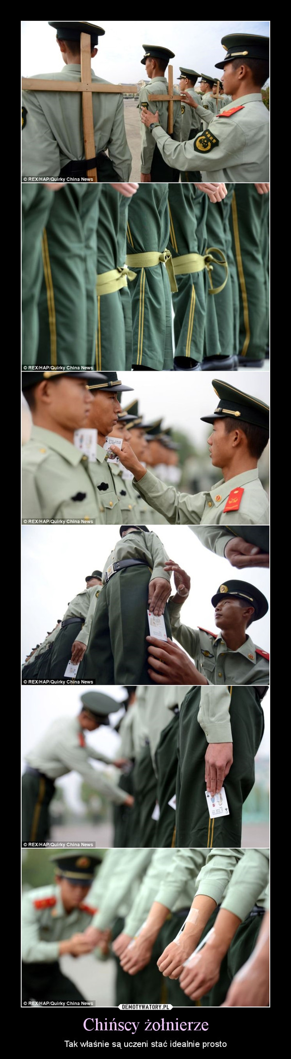 Chińscy żołnierze – Tak właśnie są uczeni stać idealnie prosto