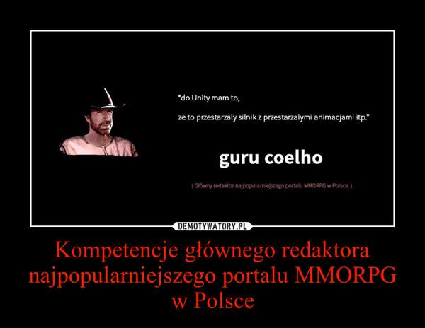 Kompetencje głównego redaktora najpopularniejszego portalu MMORPG w Polsce –