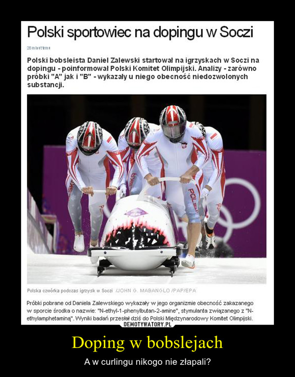 Doping w bobslejach – A w curlingu nikogo nie złapali?