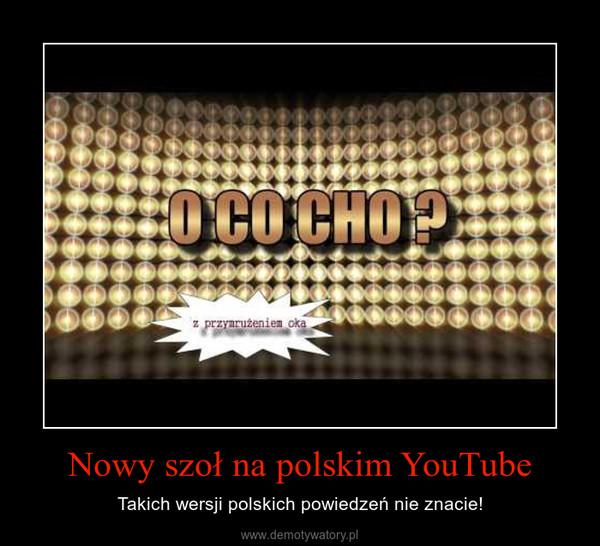 Nowy szoł na polskim YouTube – Takich wersji polskich powiedzeń nie znacie!