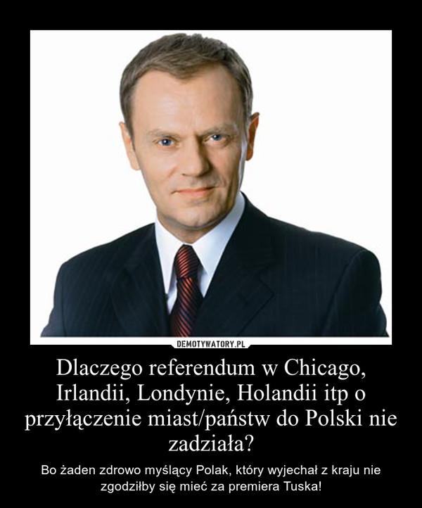 Dlaczego referendum w Chicago, Irlandii, Londynie, Holandii itp o przyłączenie miast/państw do Polski nie zadziała? – Bo żaden zdrowo myślący Polak, który wyjechał z kraju nie zgodziłby się mieć za premiera Tuska!