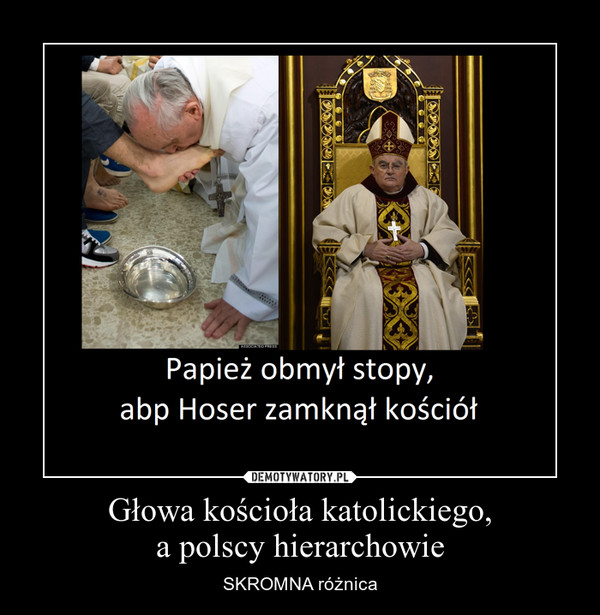 Głowa kościoła katolickiego,a polscy hierarchowie – SKROMNA różnica