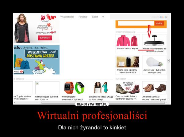 Wirtualni profesjonaliści – Dla nich żyrandol to kinkiet