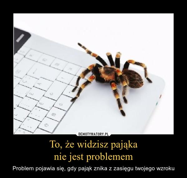 To, że widzisz pająkanie jest problemem – Problem pojawia się, gdy pająk znika z zasięgu twojego wzroku