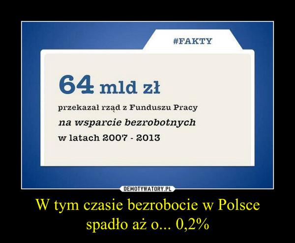 W tym czasie bezrobocie w Polsce spadło aż o... 0,2% –