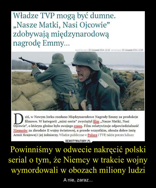 Powinniśmy w odwecie nakręcić polski serial o tym, że Niemcy w trakcie wojny wymordowali w obozach miliony ludzi – A nie, zaraz...