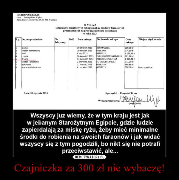 Czajniczka za 300 zł nie wybaczę! –