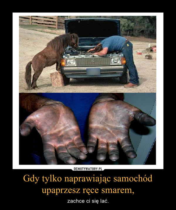 Gdy tylko naprawiając samochód upaprzesz ręce smarem, – zachce ci się lać.