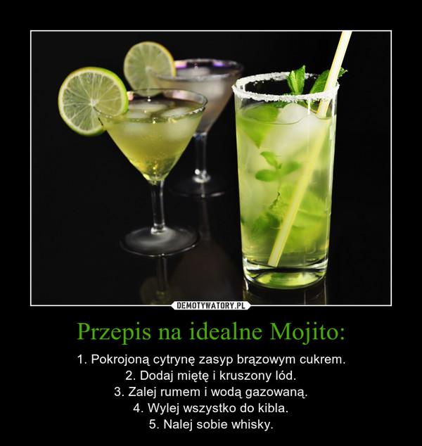 Przepis na idealne Mojito: – 1. Pokrojoną cytrynę zasyp brązowym cukrem.2. Dodaj miętę i kruszony lód.3. Zalej rumem i wodą gazowaną.4. Wylej wszystko do kibla.5. Nalej sobie whisky.