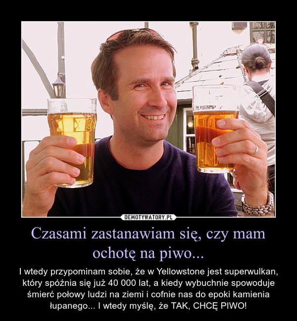 Czasami zastanawiam się, czy mam ochotę na piwo... – I wtedy przypominam sobie, że w Yellowstone jest superwulkan, który spóźnia się już 40 000 lat, a kiedy wybuchnie spowoduje śmierć połowy ludzi na ziemi i cofnie nas do epoki kamienia łupanego... I wtedy myślę, że TAK, CHCĘ PIWO!