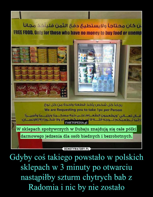 Gdyby coś takiego powstało w polskich sklepach w 3 minuty po otwarciu nastąpiłby szturm chytrych bab z Radomia i nic by nie zostało –