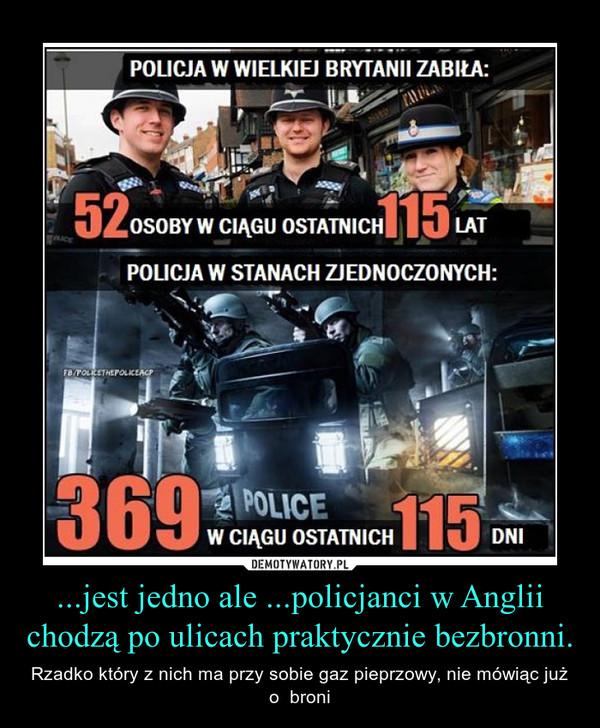 ...jest jedno ale ...policjanci w Anglii chodzą po ulicach praktycznie bezbronni. – Rzadko który z nich ma przy sobie gaz pieprzowy, nie mówiąc już o  broni