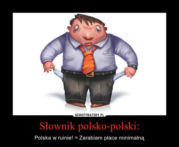 Słownik polsko-polski: – Polska w ruinie! = Zarabiam płace minimalną