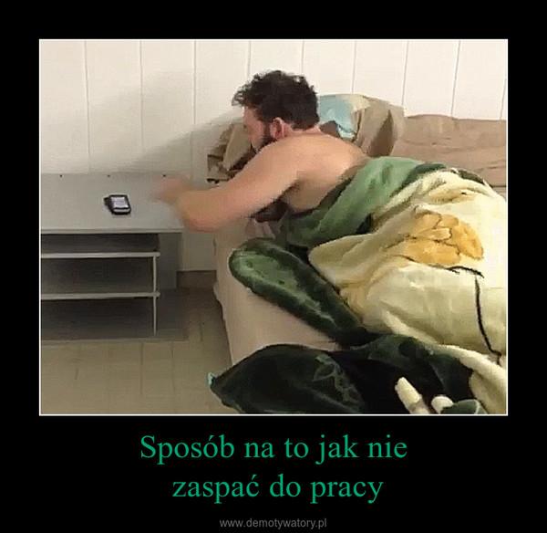 Sposób na to jak nie zaspać do pracy –