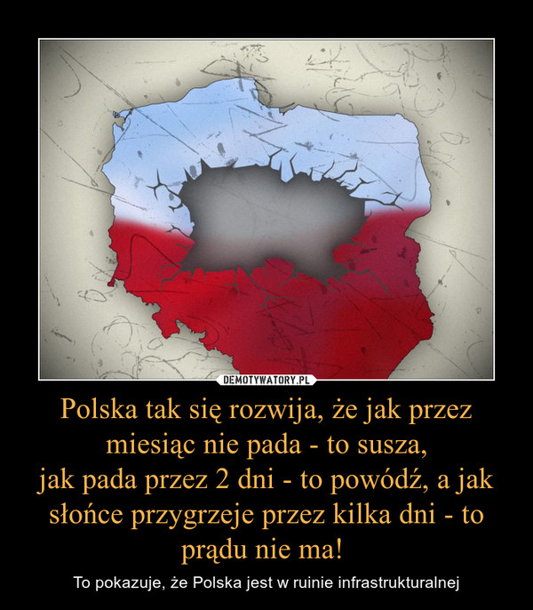 Polska tak się rozwija, że jak przez miesiąc nie pada - to susza,jak pada przez 2 dni - to powódź, a jak słońce przygrzeje przez kilka dni - to prądu nie ma!  – To pokazuje, że Polska jest w ruinie infrastrukturalnej
