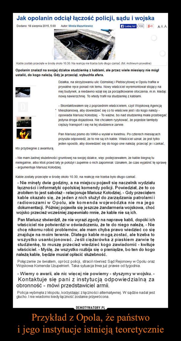 Przykład z Opola, że państwoi jego instytucje istnieją teoretycznie –