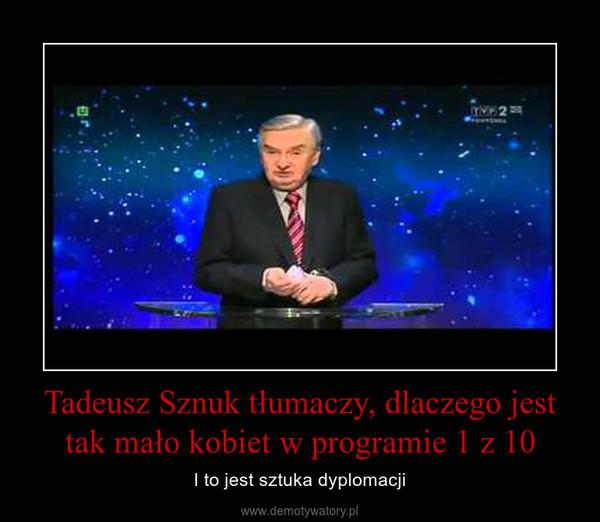 Tadeusz Sznuk tłumaczy, dlaczego jest tak mało kobiet w programie 1 z 10 – I to jest sztuka dyplomacji
