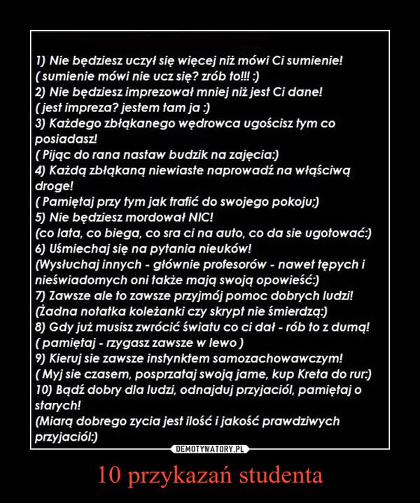10 przykazań studenta –