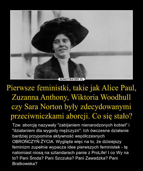 """Pierwsze feministki, takie jak Alice Paul, Zuzanna Anthony, Wiktoria Woodhull czy Sara Norton były zdecydowanymi przeciwniczkami aborcji. Co się stało? – Tzw. aborcję nazywały """"zabijaniem nienarodzonych kobiet"""" i """"działaniem dla wygody mężczyzn"""". Ich ówczesne działanie bardziej przypomina aktywność współczesnych OBROŃCZYŃ ŻYCIA. Wygląda więc na to, że dzisiejszy feminizm zupełnie wypacza idee pierwszych feministek - tę natomiast niosą na sztandarach panie z ProLife! I co Wy na to? Pani Środa? Pani Szczuka? Pani Zawadzka? Pani Bratkowska?"""