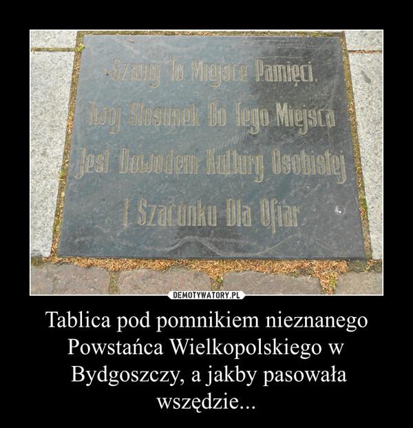 Tablica pod pomnikiem nieznanego Powstańca Wielkopolskiego w Bydgoszczy, a jakby pasowała wszędzie... –