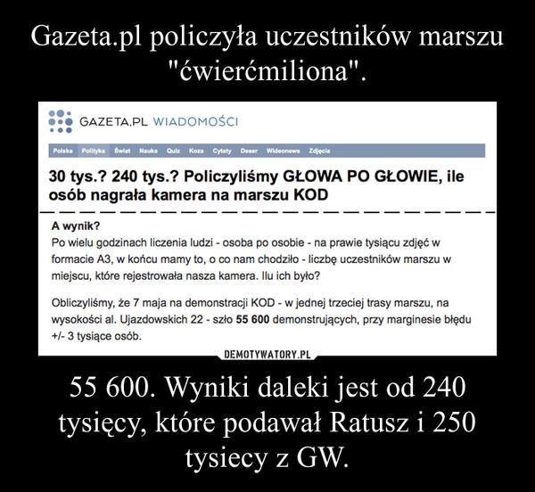 55 600. Wyniki daleki jest od 240 tysięcy, które podawał Ratusz i 250 tysiecy z GW. –
