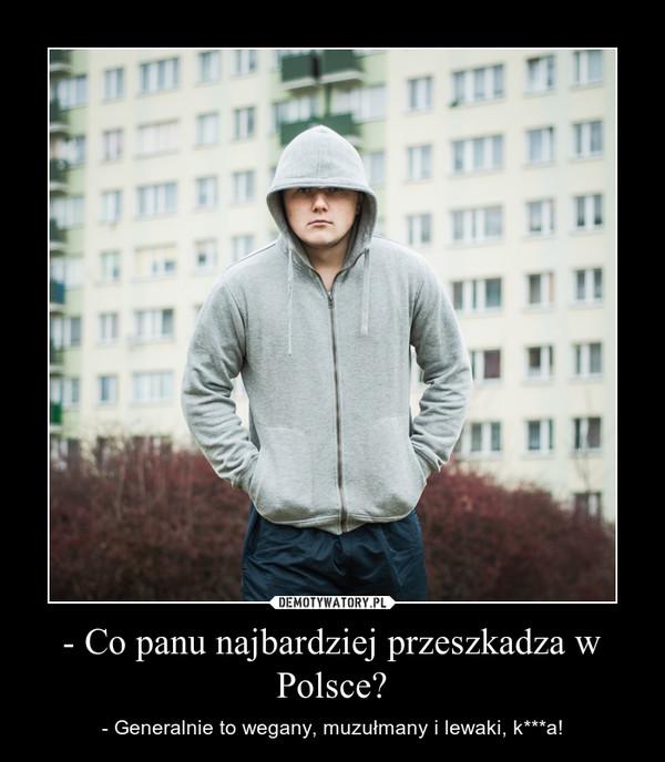 - Co panu najbardziej przeszkadza w Polsce? – - Generalnie to wegany, muzułmany i lewaki, k***a!