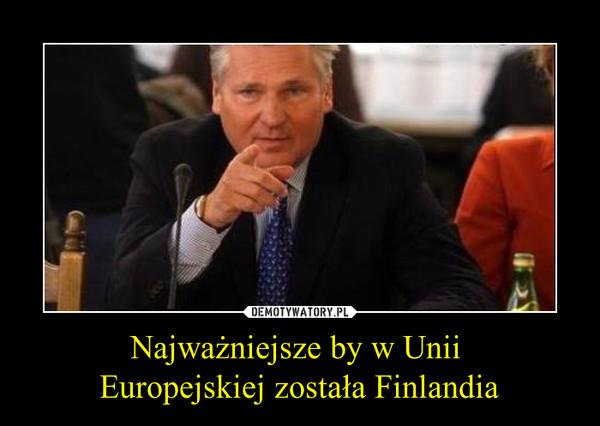 Najważniejsze by w Unii Europejskiej została Finlandia –