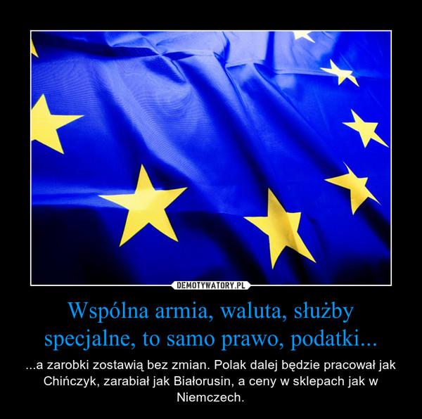 Wspólna armia, waluta, służby specjalne, to samo prawo, podatki... – ...a zarobki zostawią bez zmian. Polak dalej będzie pracował jak Chińczyk, zarabiał jak Białorusin, a ceny w sklepach jak w Niemczech.