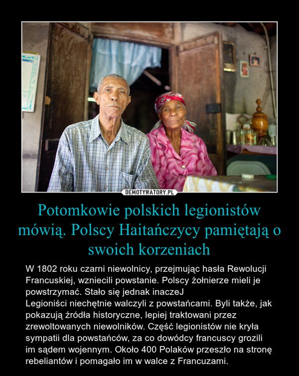 Potomkowie polskich legionistów mówią. Polscy Haitańczycy pamiętają o swoich korzeniach – W 1802 roku czarni niewolnicy, przejmując hasła Rewolucji Francuskiej, wzniecili powstanie. Polscy żołnierze mieli je powstrzymać. Stało się jednak inaczeJLegioniści niechętnie walczyli z powstańcami. Byli także, jak pokazują źródła historyczne, lepiej traktowani przez zrewoltowanych niewolników. Część legionistów nie kryła sympatii dla powstańców, za co dowódcy francuscy grozili im sądem wojennym. Około 400 Polaków przeszło na stronę rebeliantów i pomagało im w walce z Francuzami.
