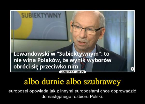 albo durnie albo szubrawcy – europoseł opowiada jak z innymi europosłami chce doprowadzić do następnego rozbioru Polski.