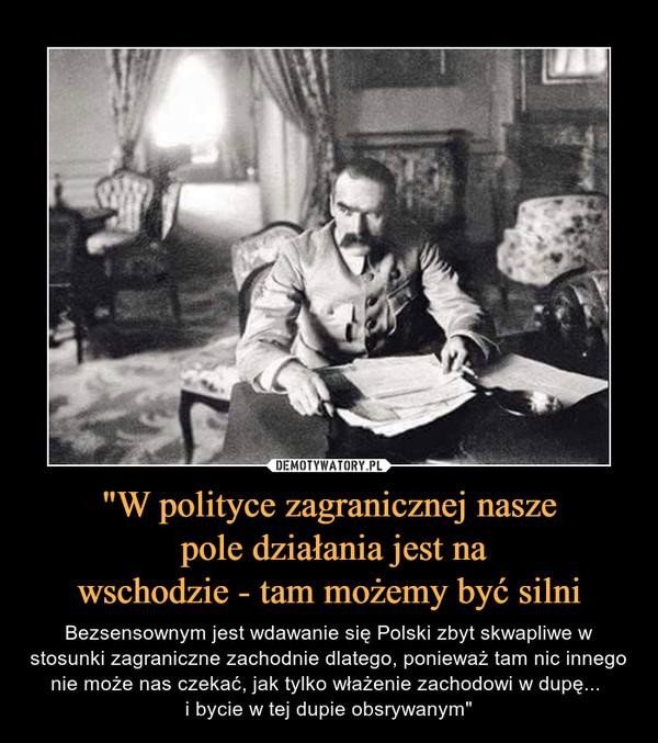 """""""W polityce zagranicznej nasze pole działania jest nawschodzie - tam możemy być silni – Bezsensownym jest wdawanie się Polski zbyt skwapliwe w stosunki zagraniczne zachodnie dlatego, ponieważ tam nic innego nie może nas czekać, jak tylko włażenie zachodowi w dupę... i bycie w tej dupie obsrywanym"""""""