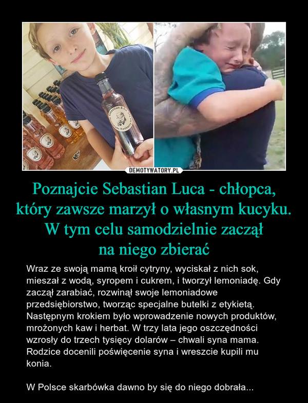 Poznajcie Sebastian Luca - chłopca, który zawsze marzył o własnym kucyku. W tym celu samodzielnie zacząłna niego zbierać – Wraz ze swoją mamą kroił cytryny, wyciskał z nich sok, mieszał z wodą, syropem i cukrem, i tworzył lemoniadę. Gdy zaczął zarabiać, rozwinął swoje lemoniadowe przedsiębiorstwo, tworząc specjalne butelki z etykietą. Następnym krokiem było wprowadzenie nowych produktów, mrożonych kaw i herbat. W trzy lata jego oszczędności wzrosły do trzech tysięcy dolarów – chwali syna mama. Rodzice docenili poświęcenie syna i wreszcie kupili mu konia.W Polsce skarbówka dawno by się do niego dobrała...