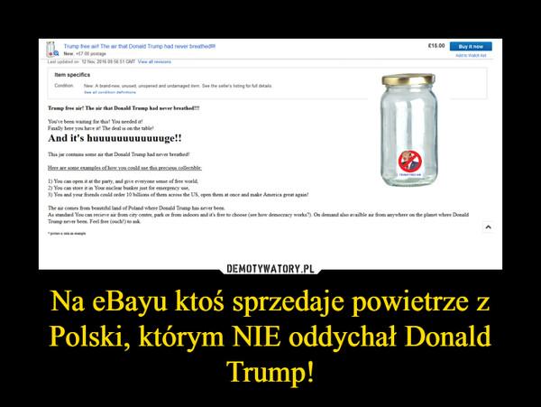 Na eBayu ktoś sprzedaje powietrze z Polski, którym NIE oddychał Donald Trump! –