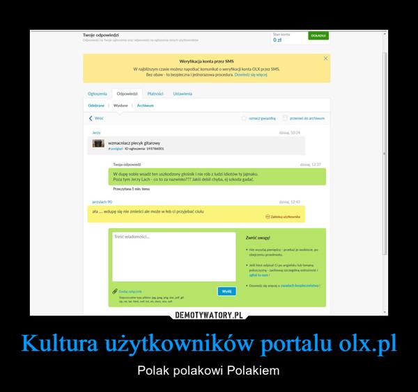 Kultura użytkowników portalu olx.pl – Polak polakowi Polakiem
