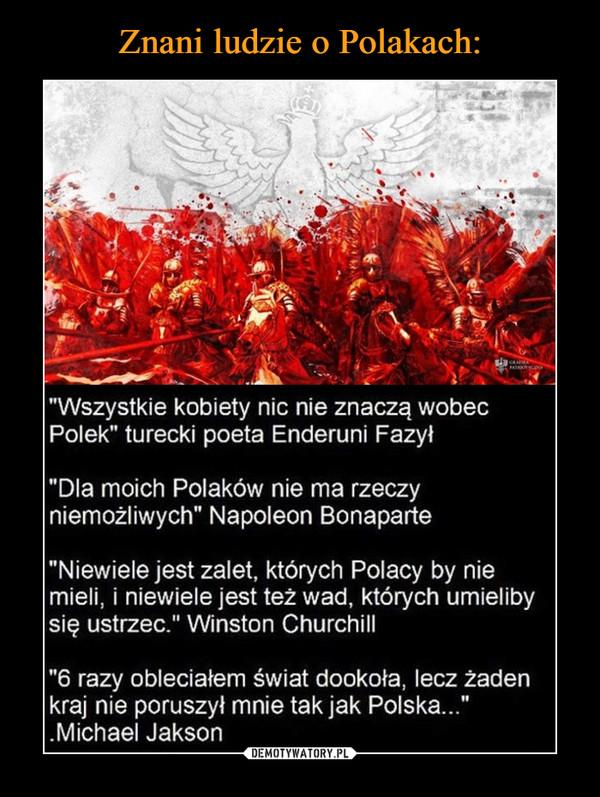 """–  """"Wszystkie kobiety nic nie znaczą wobecPolek"""" turecki poeta Enderuni Fazył""""Dla moich Polaków nie ma rzeczyniemożliwych"""" Napoleon Bonaparte""""Niewiele jest zalet, których Polacy by niemieli, i niewiele jest też wad, których umielibysię ustrzec."""" Winston Churchill""""6 razy obleciałem świat dookoła, lecz żadenkraj nie poruszył mnie tak jak Polska..."""".Michael Jakson"""