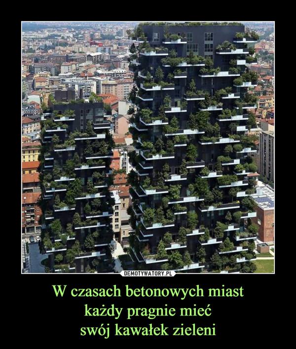 W czasach betonowych miastkażdy pragnie miećswój kawałek zieleni –