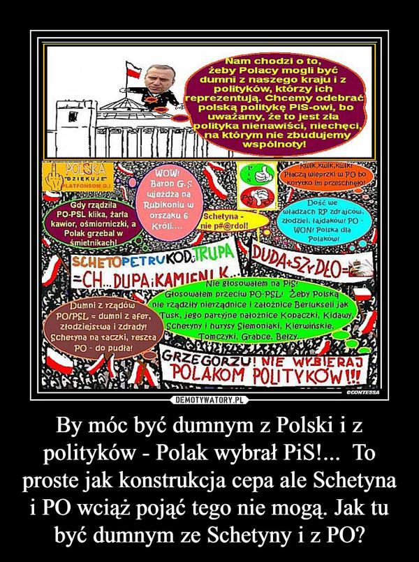 By móc być dumnym z Polski i z polityków - Polak wybrał PiS!...  To proste jak konstrukcja cepa ale Schetyna i PO wciąż pojąć tego nie mogą. Jak tu być dumnym ze Schetyny i z PO? –