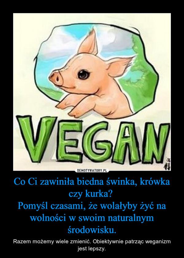 Co Ci zawiniła biedna świnka, krówka czy kurka? Pomyśl czasami, że wolałyby żyć na wolności w swoim naturalnym środowisku. – Razem możemy wiele zmienić. Obiektywnie patrząc weganizm jest lepszy.
