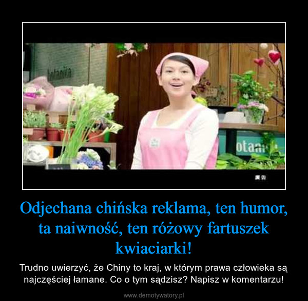 Odjechana chińska reklama, ten humor, ta naiwność, ten różowy fartuszek kwiaciarki! – Trudno uwierzyć, że Chiny to kraj, w którym prawa człowieka są najczęściej łamane. Co o tym sądzisz? Napisz w komentarzu!