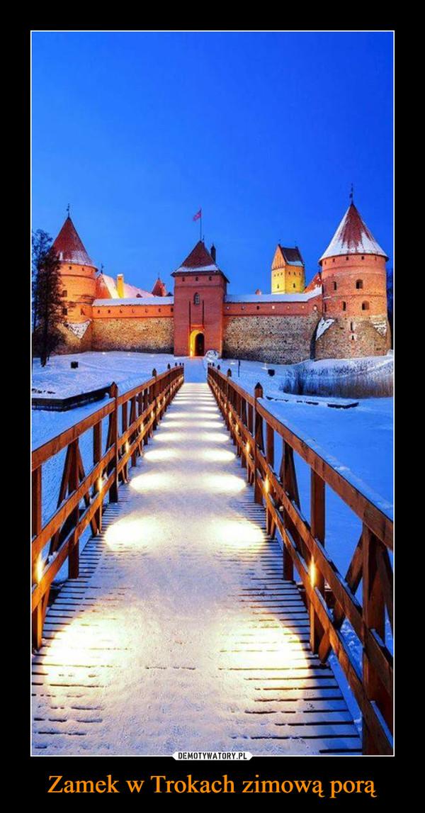Zamek w Trokach zimową porą –
