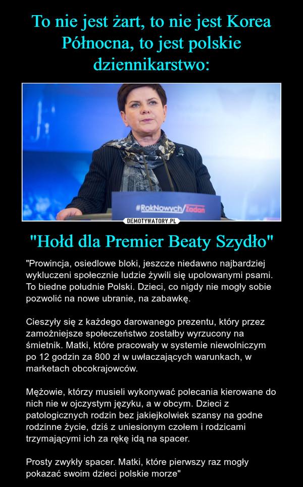 """""""Hołd dla Premier Beaty Szydło"""" – """"Prowincja, osiedlowe bloki, jeszcze niedawno najbardziej wykluczeni społecznie ludzie żywili się upolowanymi psami. To biedne południe Polski. Dzieci, co nigdy nie mogły sobie pozwolić na nowe ubranie, na zabawkę. Cieszyły się z każdego darowanego prezentu, który przez zamożniejsze społeczeństwo zostałby wyrzucony na śmietnik. Matki, które pracowały w systemie niewolniczym po 12 godzin za 800 zł w uwłaczających warunkach, w marketach obcokrajowców. Mężowie, którzy musieli wykonywać polecania kierowane do nich nie w ojczystym języku, a w obcym. Dzieci z patologicznych rodzin bez jakiejkolwiek szansy na godne rodzinne życie, dziś z uniesionym czołem i rodzicami trzymającymi ich za rękę idą na spacer. Prosty zwykły spacer. Matki, które pierwszy raz mogły pokazać swoim dzieci polskie morze"""""""