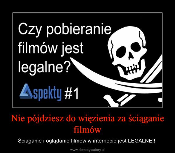 Nie pójdziesz do więzienia za ściąganie filmów – Ściąganie i oglądanie filmów w internecie jest LEGALNE!!!